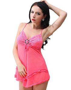 DELEY Damen Dessous Lace Straps Babydoll Blume Schlafanzug Reizwäsche Unterwäsche Chemise Nachtwäsche Rosa