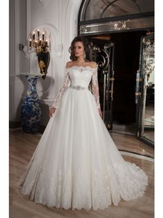 Classic Off-Shoulder Wedding Dress with Long sleeves and Gorgeous Train