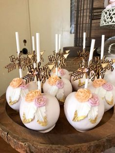 Loving the beautifully decorated candy apples at this Boho Chic Baby Shower!! See more party ideas and share yours at CatchMyParty.com #bohochic #babyshower