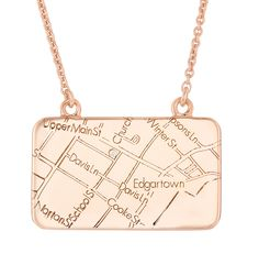 Map your moments!  Choose your location - a diamond marks the spot.  Rose Gold Map Necklace - Maps by A.Jaffe