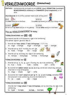 verkleinwoorde worksheets - Google Search 1st Grade Worksheets, Phonics Worksheets, School Worksheets, School Resources, Worksheets For Kids, Teaching Skills, Teaching Grammar, Teaching Aids, Afrikaans Language
