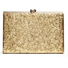 Rental kate spade new york accessories Gold Glitter Emanuelle Clutch ($50) ❤ liked on Polyvore featuring bags, handbags, clutches, bolsas, purses, gold, gold handbag, gold minaudiere, beige purse and gold purse
