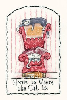 Home is Where the Cat is - Cats Rule! Cross Stitch Kit by Heritage Crafts