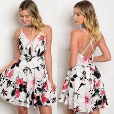 Spaghetti Strap White, Black, Red Floral Dress