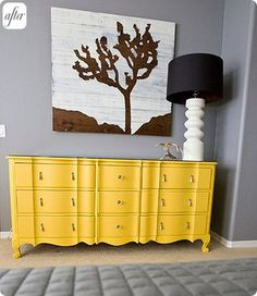 I really want to paint a dresser yellow for our bedroom. This one might be a tad bit too bright.