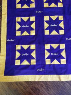 Close up of crown royal quilt Crown Royal Quilt, Crown Royal Bags, Royal Pattern, Gold Crown, Quilt Patterns Free, Mini Quilts, Quilt Tutorials, Quilt Top, Quilt Making