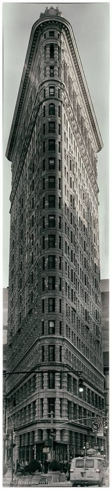 Timeless.   4-shot stitched pano of the Flatiron Building in NYC, processed in Analog Efex Pro.