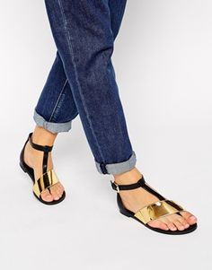 ASOS FASHTAG Toe Post Metal Strap Sandals