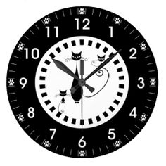 Black Cat and Kittens with Paw Prints Wall Clock