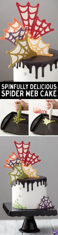 How to Make a Spider Web Cake - Family and friends will get caught up in fun web of color! Learn how to make this easy to create spinfully delicious spider web cake with Wilton Candy Melts® Candy! This cake will be a perfect centerpiece for your Halloween party.