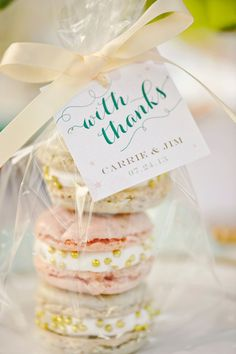 Macaron favors with gold confetti. Photography by amandadumouchellephotography.com/ Read more - http://www.stylemepretty.com/2013/08/22/pinckney-michigan-wedding-from-amanda-dumouchelle-take-a-seat/