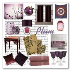 """Plum in Every Room"" by christined1960 ❤ liked on Polyvore featuring interior, interiors, interior design, home, home decor, interior decorating, Lenox, Voluspa, Linum Home Textiles and Exclusive Home"