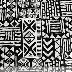 Black Tribal Print on White Cotton Jersey Knit Fabric