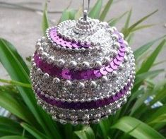 Christmas ball Christmas ornament painted ball ornaments crafts boutique (photo only) Sequin Ornaments, Beaded Ornament Covers, Christmas Ornaments To Make, Homemade Christmas, Ball Ornaments, Ornament Crafts, Holiday Crafts, Sequin Crafts, Purple Christmas