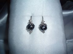 Chaos Wire Wrapped Earrings with Black Metallic Glass Beads