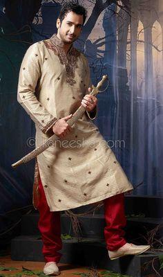 Cream Jacquard Fabric Kurta Pajama Price: Usa Dollar $102, British UK Pound £60, Euro75, Canada CA$109 , Indian Rs5508.