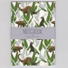 Dinosaur Jungle Cream A5 Notebook
