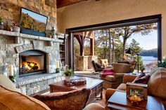 Lakefront Residence III - The Reserve at Lake Keowee - rustic - living room - other metro - Ridgeline Construction Group, Inc