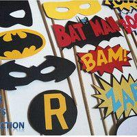 SUPER HERO: Photo booth props, batman robin superman captain america