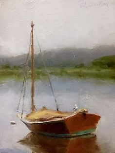 Original-Oil-Painting-8-034-x6-034-canvas-Lake-Boat-by-Gary-Bruton