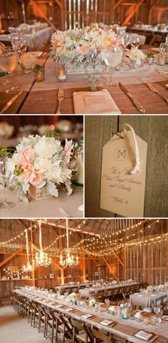 Elegant barn reception with cafe lights and soft pastel flowers