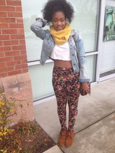 Floral leggings, crop top, and moccasins with my natural hair