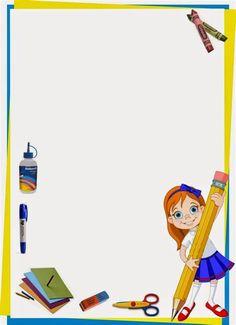 Maestra de Primaria Marcos infantiles para fotos y marcos Boarder Designs, Page Borders Design, Borders For Paper, Borders And Frames, School Border, Kindergarten Portfolio, School Frame, Background Powerpoint, School Labels