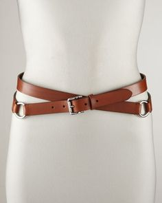 Double-Wrap Leather Belt, Tan by Ralph Lauren at Bergdorf Goodman.