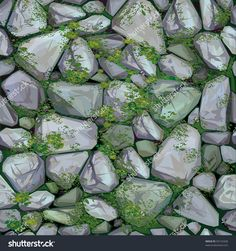 Vector Seamless Texture Of Stones In Grey Colors Covered Moss. - 83132428 : Shutterstock