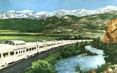 """Vintage railway postcard of the diesel-powered, stainless steel """"California Zephyr,"""" which had daily routes between Chicago, Denver, Salt Lake City and San Francisco. Featuring five """"Vista Dome"""" cars and dubbed the """"Scenic Way Across America. California Zephyr, Vintage California, California Travel, Photo Postcards, Vintage Postcards, Rio Grande, Rocky Mountains, America, Outdoor"""