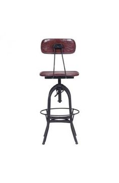 Gering Bar Chair Burgundy & Antique Black