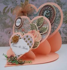 Triple Easel Heart Card — from Cardmaking Paradise - Idso Martin Aube… Fun Fold Cards, Pop Up Cards, Folded Cards, My Planner Colibri, Valentine Day Cards, Valentines, Step Cards, Shaped Cards, Easel Cards