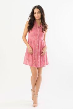 Suzy Shier Lace Shirt Dress