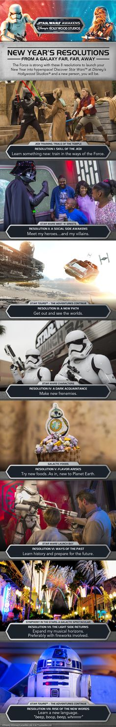 The Force is strong with these 8 resolutions to launch your New Year into hyperspace! Discover Star Wars at Disney's Hollywood Studios on your next Walt Disney World vacation!