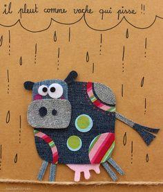Il pleut comme vache qui pisse!! fleurysylvie  / www.toutpetitrien.ch #jeans #recycle Diy With Kids, Crafts For Kids, Arts And Crafts, Artisanats Denim, Denim Art, Fabric Art, Fabric Crafts, Sewing Crafts, Jean Crafts