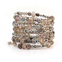 Cuff Bracelet Wrapped Bracelet Multi-strand Bracelet Stacked Bracelet... (€23) via Polyvore featuring jewelry, bracelets, stackers jewelry, wrap cuff bracelet, stackers jewellery, crystal jewellery and cuff jewelry