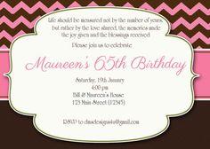 Printable Birthday Invitation   Milestones 18th, 21st, 30th, 40th, 50th, 60th, 70th, 80th, 90th