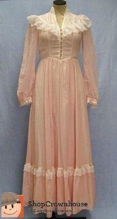 renaissance nightgown   Vtg Gunne Sax Romantic Renaissance Bridal Wedding Dress Pink Lace Long ...
