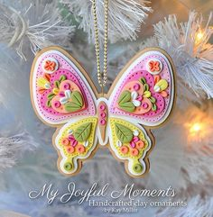 Pink, Yellow & Green Polymer Clay Butterfly Christmas Ornament