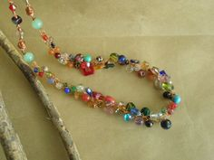 Colourful Copper Wire Necklace/Crochet Wire Necklace/ Multi-Colour Necklace by WhimsicalWireByElla on Etsy