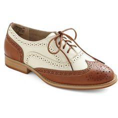 ModCloth Menswear Inspired Talking Picture Flat ($55) ❤ liked on Polyvore featuring shoes, oxfords, flats, oxford, brogues, oxford shoes flats, flat shoes, cut out oxfords, oxford brogues and brogue oxford