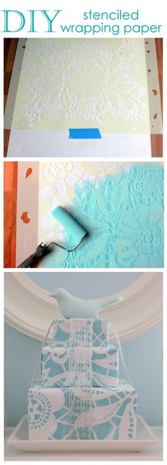 Stenciled wrapping paper