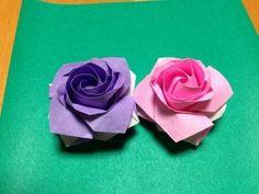 佐藤ローズ四角の達人折り基本形 裏白バージョン Sato naomiki rose Tatsujinori Basic form2
