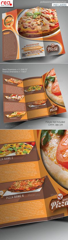 Pizza Shop Trifold Brochure Template by redshinestudio SPECIFICATIONTrifold Brochure Template is 8.5 by 11 in (8.75 in by 11.25 in with bleeds) and is ready for print, because its in C