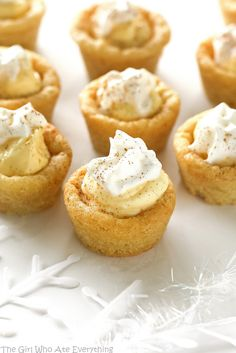 These Eggnog Cookie Cups are sugar cookie cups filled with a creamy eggnog filling. Super easy and festive for Christmas! the-girl-who-ate-everything.com