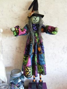 Halloween Witch Doll Centerpiece by humbleheartdesigns