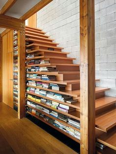 Bookshelf stairs -- I like these a lot better than other versions, because there are no books on the stairs themselves, which looks cluttered. I feel like even with my limited carpentry skills, I could build these.