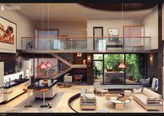 Loft by Pavel-Rentone on DeviantArt Loft Interior Design, Loft Design, Design Case, Modern House Design, Interior Decorating, Decorating Ideas, Loft House, House Rooms, Loft Style Homes