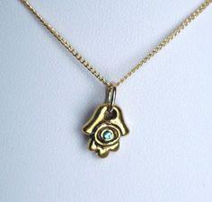 "Handmade Gold #Fatima Hand Charm Necklace with Aqua Swarovski Crystal ""Eye"""