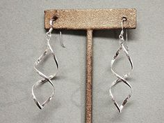 Sterling Silver Modernist Swirl Dangly Earrings Long and Luscious via Etsy